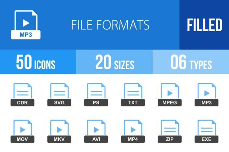 50 File Formats Filled Blue & Black Icons example image 1