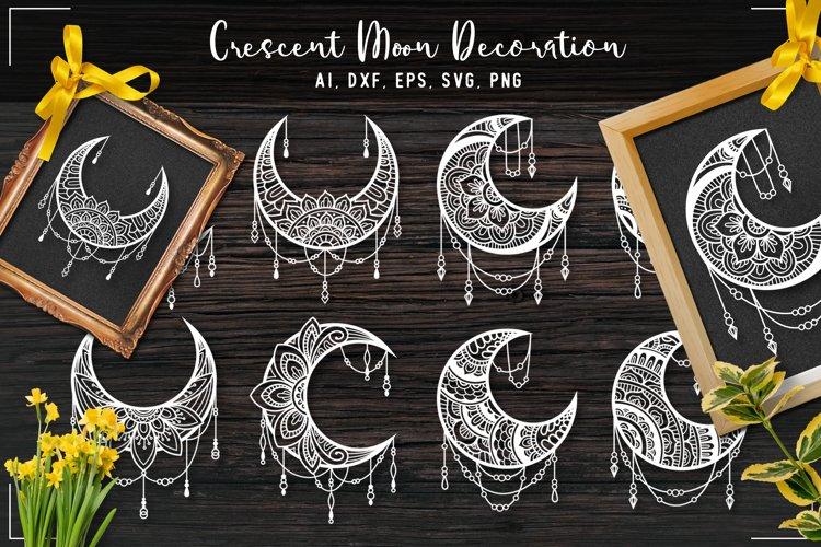 Crescent Moon Mandala Ornament Bundle