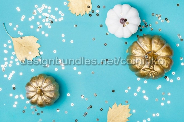 Golden decorative pumpkins and sparkles frame example image 1