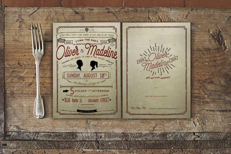 Vintage Hand Lettering Wedding Invitation example image 1