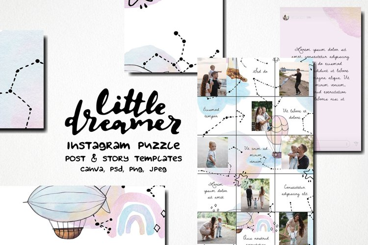 Little dreamer watercolor instagram puzzle template example image 1