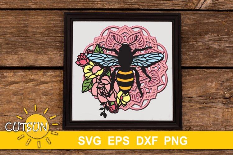 3D Layered Bee Mandala SVG - 9 layers