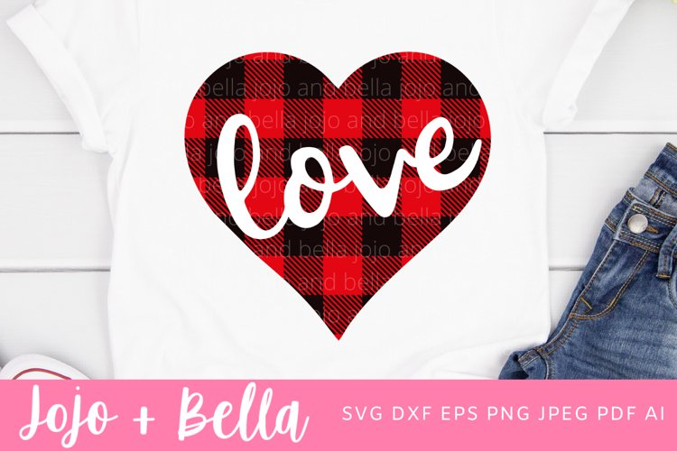 Plaid Heart Svg | Love Heart Svg example image 1