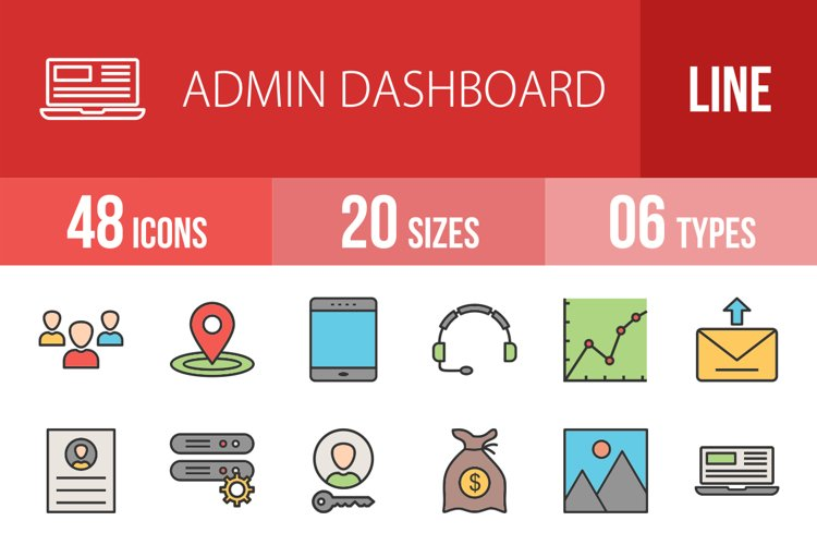 48 Admin Dashboard Filled Line Icons Season II example image 1