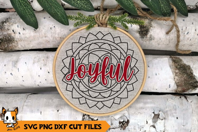 Mandala Christmas Ornament SVG | Joyful example image 1