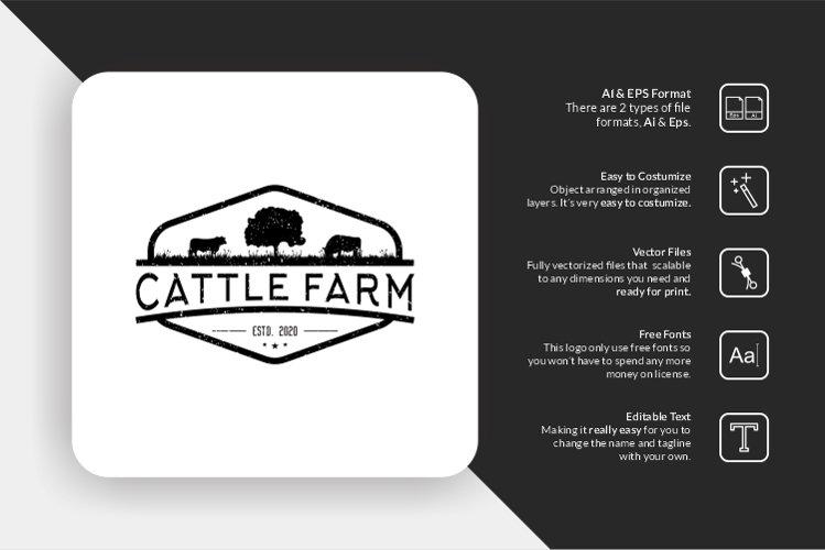 Cattle Farm Retro Logo