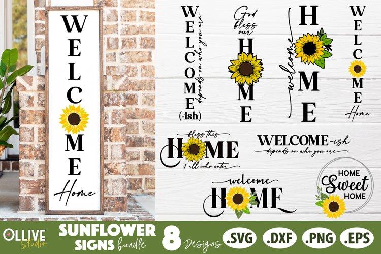 Sunflower Porch Sign SVG Bundle, Sunflower Home Sign SVG