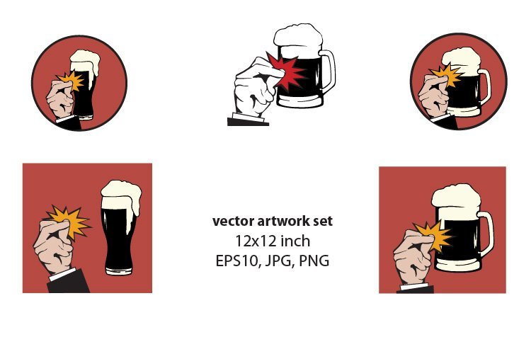 Beer - VECTOR ARTWORK SET example image 1