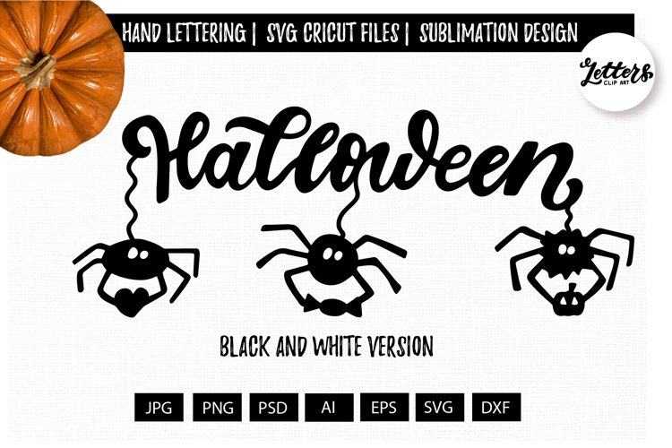 Halloween phrase svg with 3 black spiders hand lettering svg example image 1