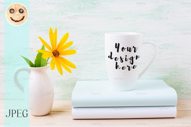 White cappuccino mug mockup with yellow rosinweed flowers example image 1