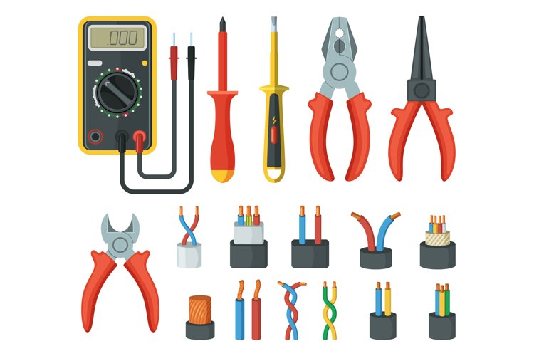 Electrical cable wires and different electronic tools. Cutte example image 1