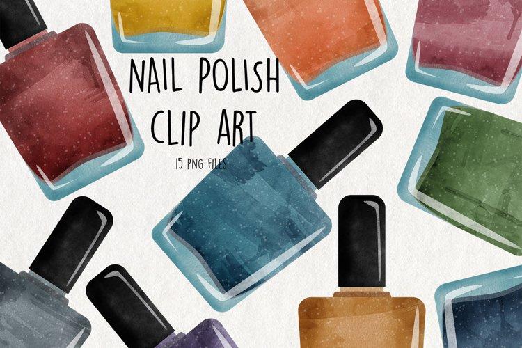 Watercolor Nail Polish Clipart. Instant Download Nail Polish