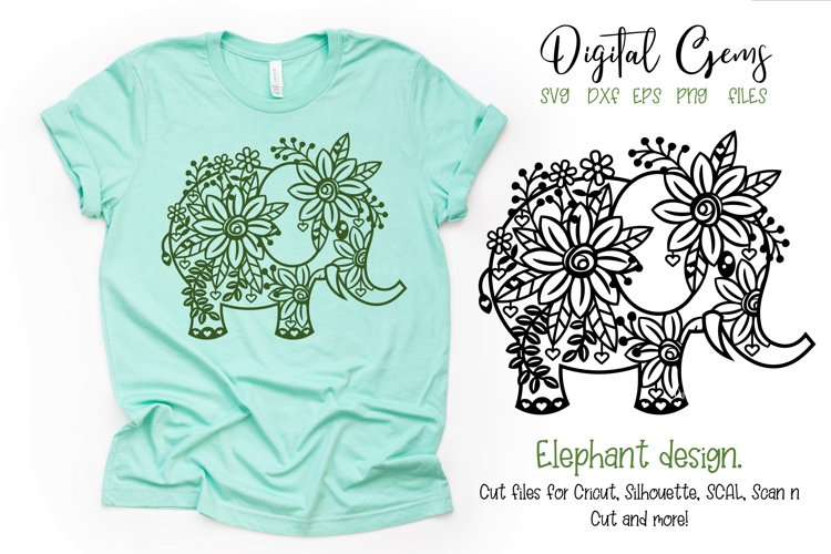 Elephant paper cut design SVG / DXF / EPS / PNG files example image 1