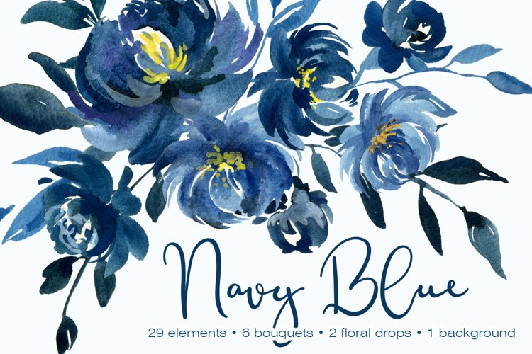 Navy Blue Watercolor Peonies Flowers Collection example image 1