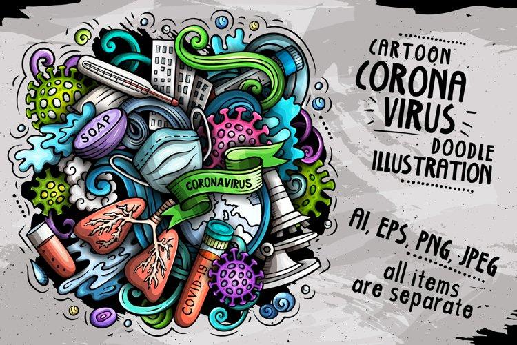 Cartoon vector doodles Coronavirus illustration example image 1