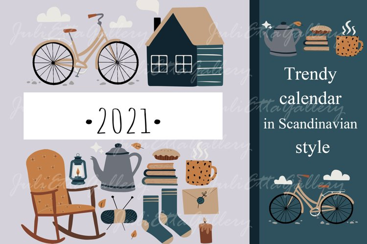 2021 // Trendy calendar in Scandinavian style