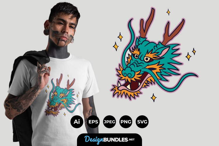 Dragon Face Illustrations for T-Shirt Design example image 1