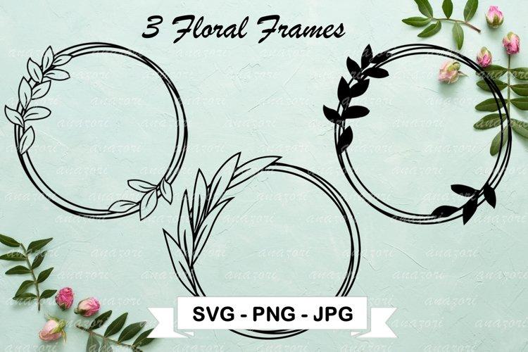Leaf Circle SVG Cut File, Floral Frame Clipart, Leaf Wreath example image 1