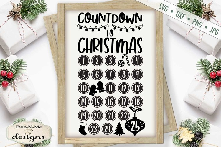 Countdown To Christmas | Christmas Tree | Candy Canes | SVG example image 1