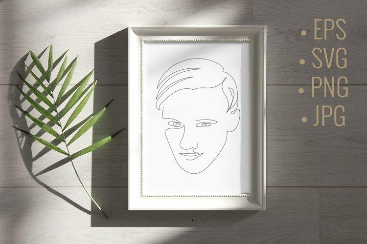 Line art man face