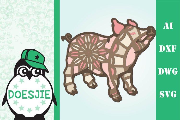3d Pig farm animal multi layer mandala example image 1