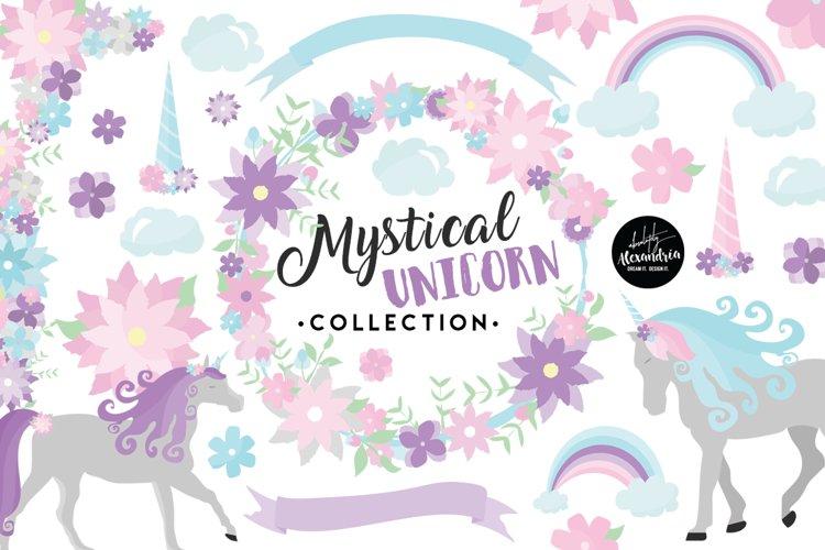 Mystical Unicorn Clipart Graphics & Digital Paper Patterns Bundle example image 1