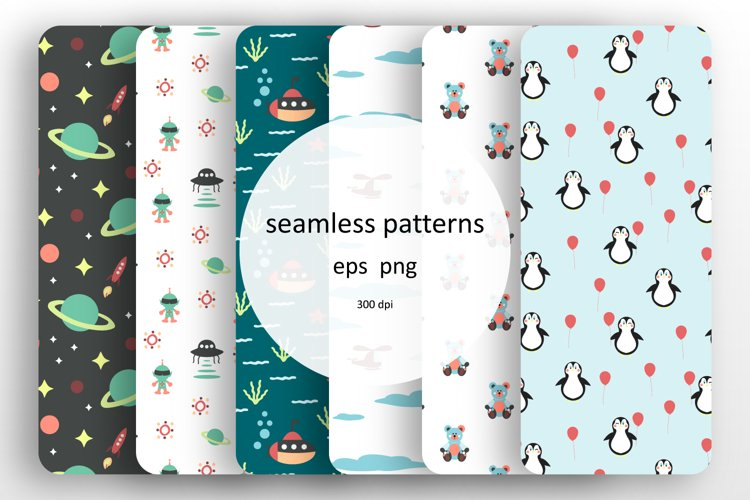 6 Seamless patterns with boys design example image 1