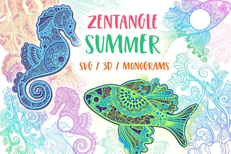 Zentangle Summer Bundle - SVG / 3D items example image 1