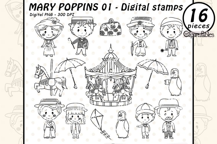 Mary Poppins -DIGITAL STAMPS- Musical, Cute carousel clipart example image 1