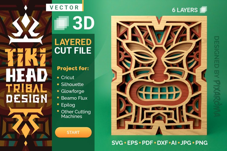 Tiki Head 3D Layered SVG Cut File