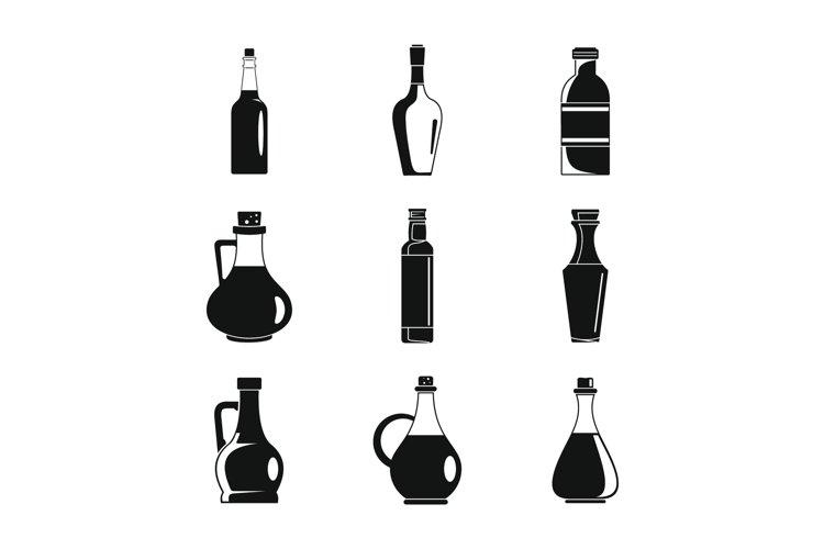 Vinegar bottle icons set, simple style example image 1