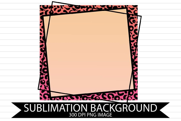 Square Pink Cheetah Blank Frame Sublimation Background example image 1