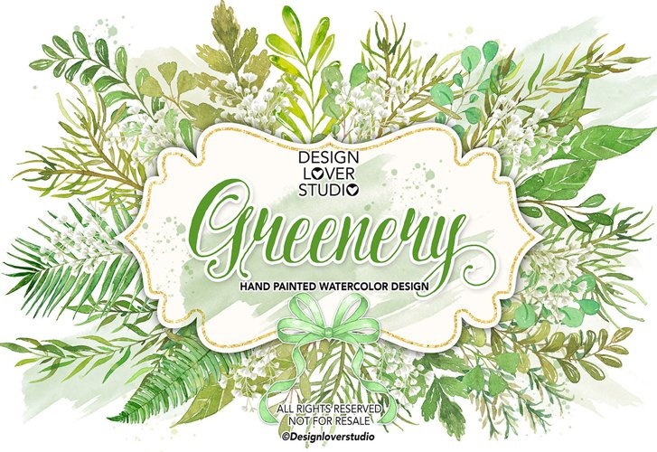 Watercolor Leaves Greenery clip arts example image 1