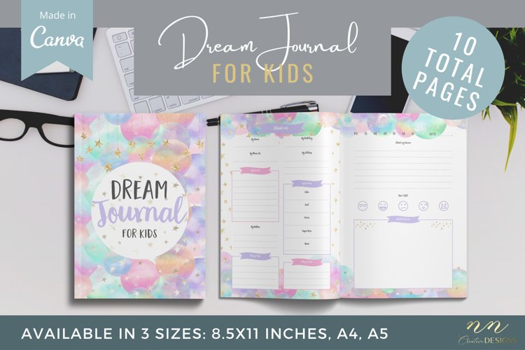Dream Journal for Kids Canva Template for Printable Products