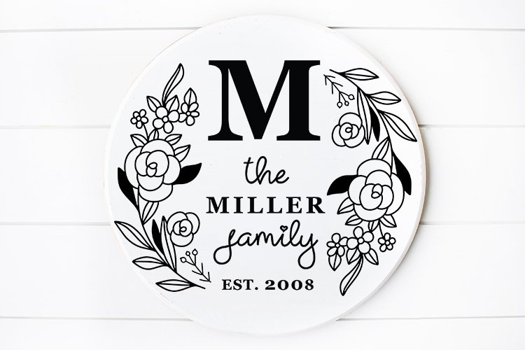 Family Monogram , Family Last Name Round sign svg example image 1