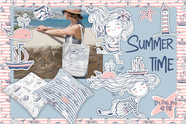 Beach girls trip summer digital cliparts in cute Doodle