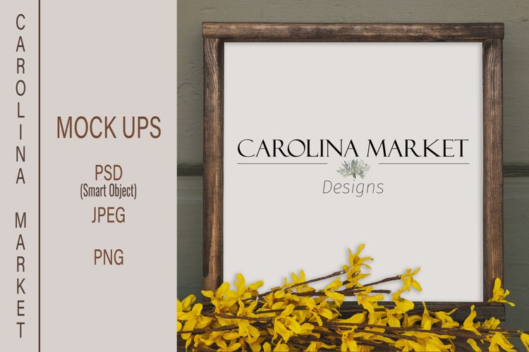 Square Farmhouse Wood Sign Mockup | Rustic Stock Photo example image 1