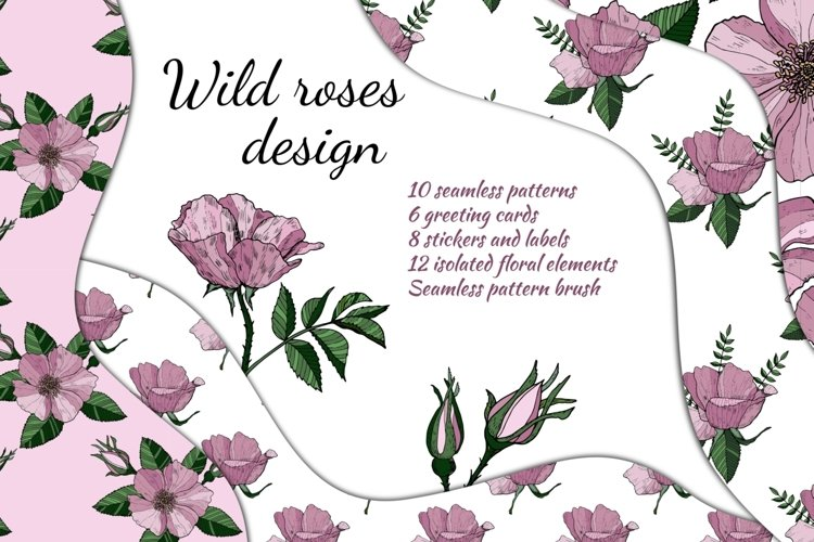 Wild roses. Seamless floral pattern. Greeting cards. example image 1