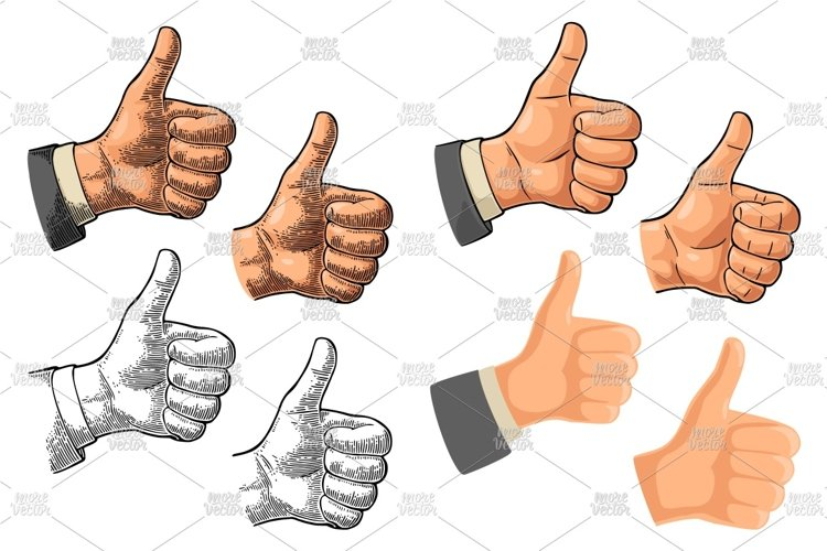 Hand showing symbol Like. Vector vintage engraving and flat example image 1