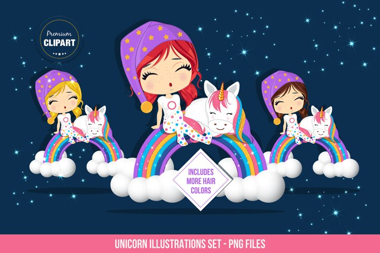 Unicorn graphics, Girl and unicorn illustrations