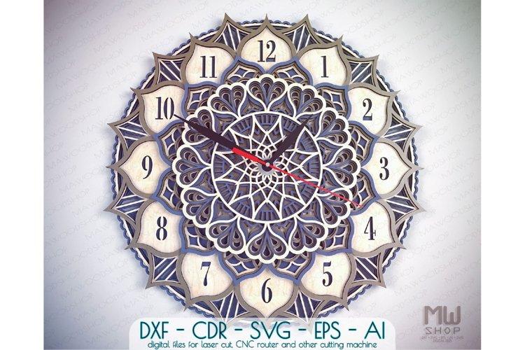 C18 - Laser Cut Wall Clock DXF, Mandala Clock, Wooden Clock example image 1