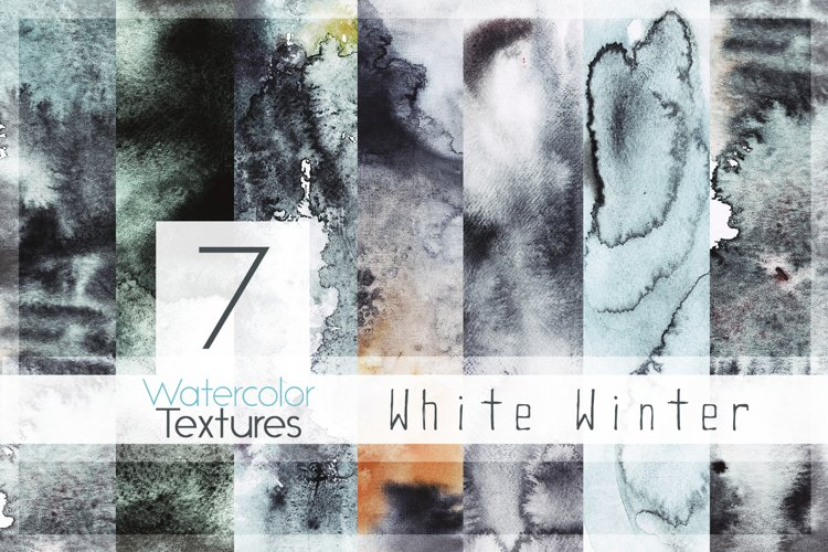 6 White Winter Watercolor Textures Graphic