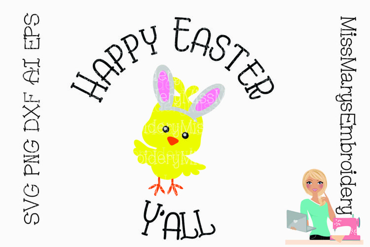 Happy Easter Y'all SVG Cutting File example image 1