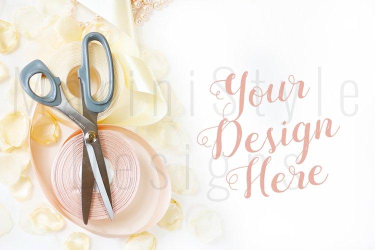 Minimalist Wedding mockup, Feminine desk with petals 441