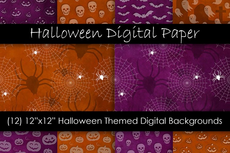 Halloween Digital Paper - Halloween Background Patterns example image 1