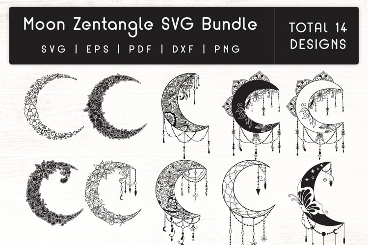 Moon Zentangle SVG - Moon SVG Bundle example image 1