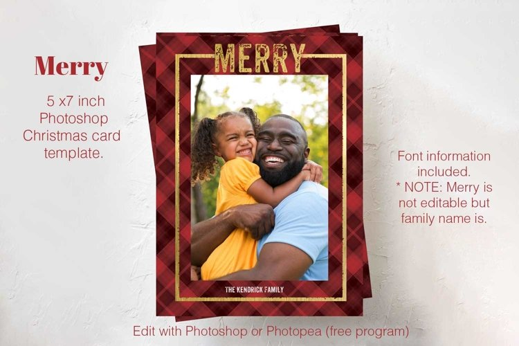 Merry Plaid Photoshop Christmas card template.
