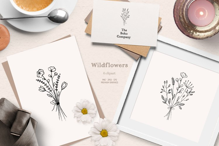 Floral boho clipart | Romantic wildflower clipart