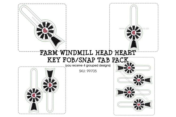 ITH Farm Windmill Head Heart Key Fob