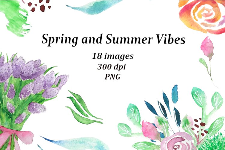 Summer clipart, flower bundle, flowers